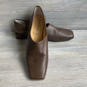 Brown square toe and square heel leather flats